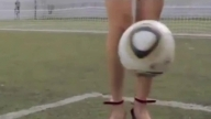 Argentine model Fiorella Castillo shows her freestyle football skills in heels