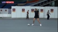 Maria Sharapova playing football