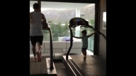 Thiago Messi Tries to Copy Dad Lionel Messi While on the Treadmill || HD Video