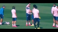 Funny: Real Madrid players queue up to hug Cristiano Ronaldo in training