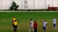 Brazilian football ref reacts to red card dispute by pulling GUN on the pitch || Shocking Footage