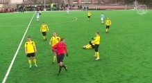 Outrageous assault! Nutjob footballer in Estonia mindlessly kicks an opponent in the gut
